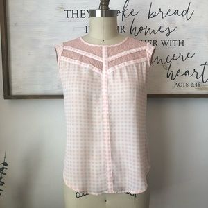 NWT Candie's Pink Gingham Lace Cap Sleeve Top S